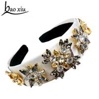 2017 Fashion palace vintage gem crystal flower pearl wide headband women elegant luxury hair accessories high quality
