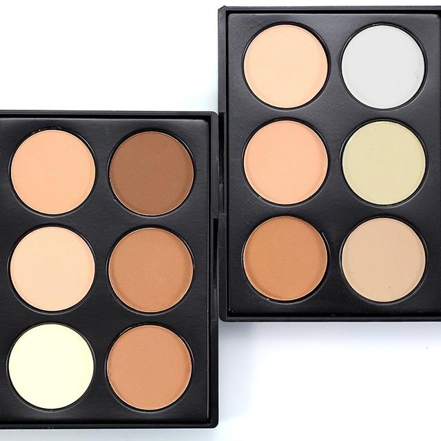 Maquillaje Profesional corrector en polvo paleta 6 colores contorno cara maquillaje corrector poros Maquiagem Highlighter base Facial