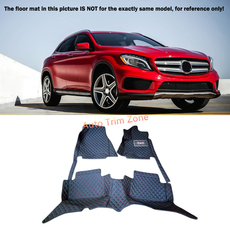 Black Interior Floor Mats & Carpet Foot Pad For Mercedes Benz GLA 2015-2016 X156 3d trunk mat for peugeot 508 waterproof car protector carpet auto floor mats keep clean interior accessories