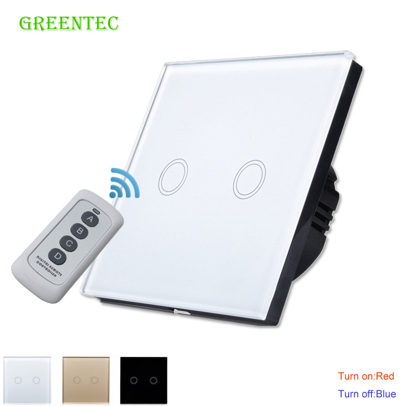 MiniTiger Crystal Glass Panel Touch Switch, EU Standard,  2 Gang 1 Way Remote Control Light Switch,Wall Switch, Touch Switch remote switch wall light free shipping 3 gang 1 way remote control touch switch eu standard gold crystal glass panel led