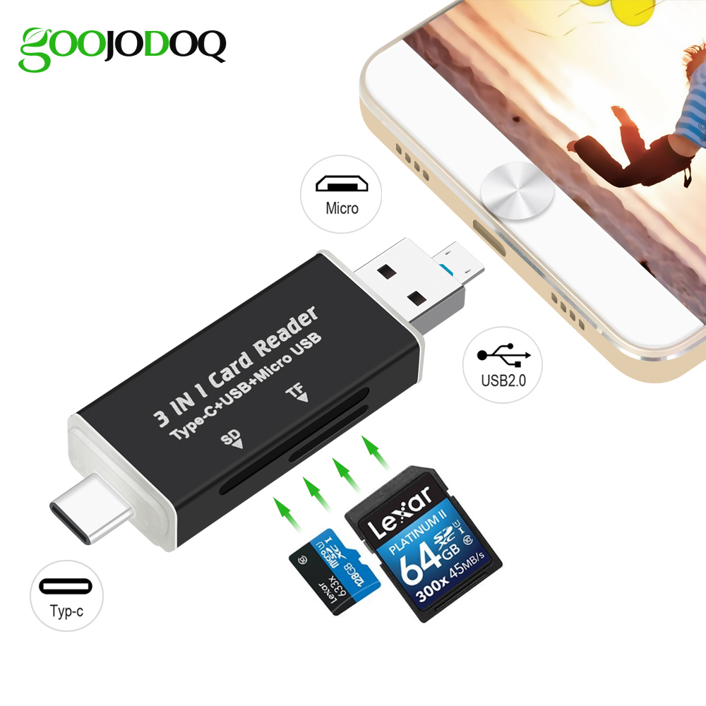 3 in1 USB C OTG Hub Card Reader, Type C / Micro USB / USB to Micro SD TF Card Reader for Macbook Android Phone PC Laptop USB-C