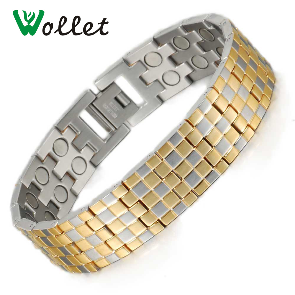 Wollet Jewelry New Arrival 215cm Gold Color Energy Bio Magnetic Ring Bracelet Stainless Steel Men Bangle For