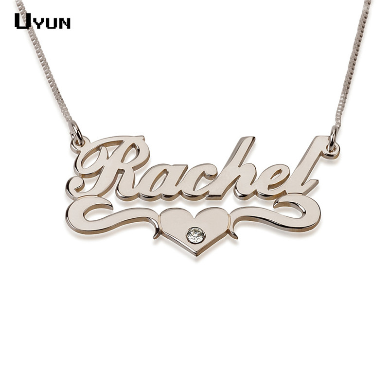 Custom Name Collier Personalized Rose Carrie Style Nameplate Choker with Heart Fashion Brithstone Necklaces & Pendant for Women