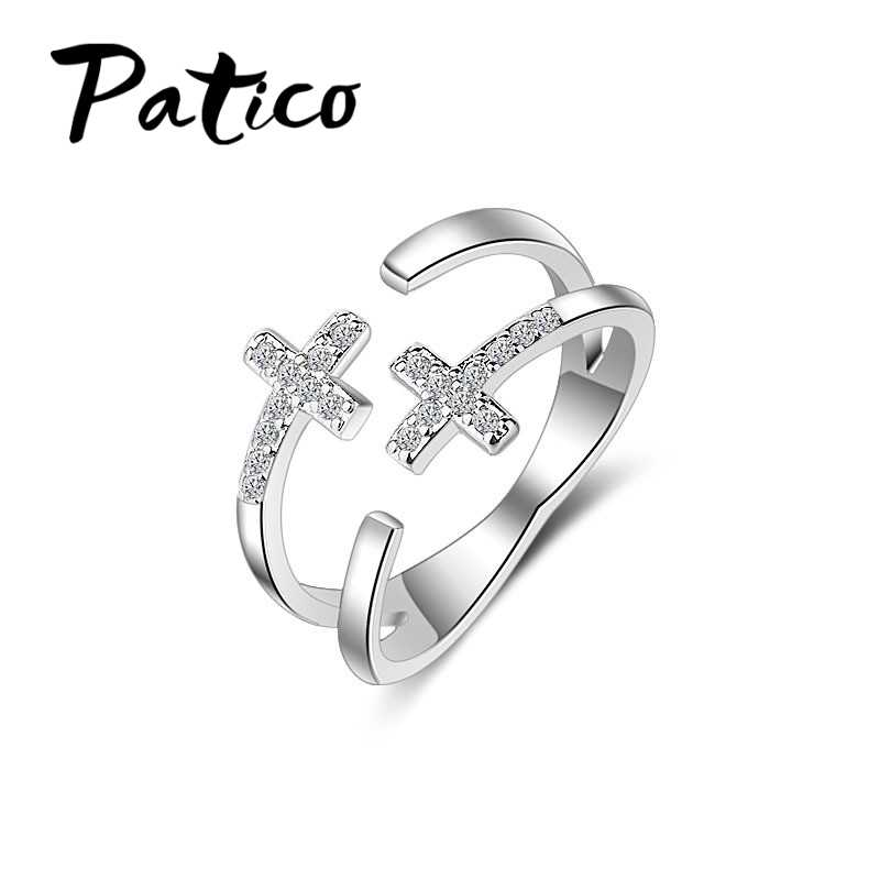 Latest 925 Sterling Silver Free Size Rings Shiny CZ Zircon Stones Double Cross Rhinestones Party Jewelry for Women Femme