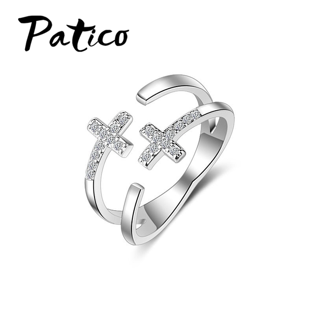 PATICO Latest S90 Silver Free Size Rings Shiny CZ Zircon Stones Double Cross Rhi