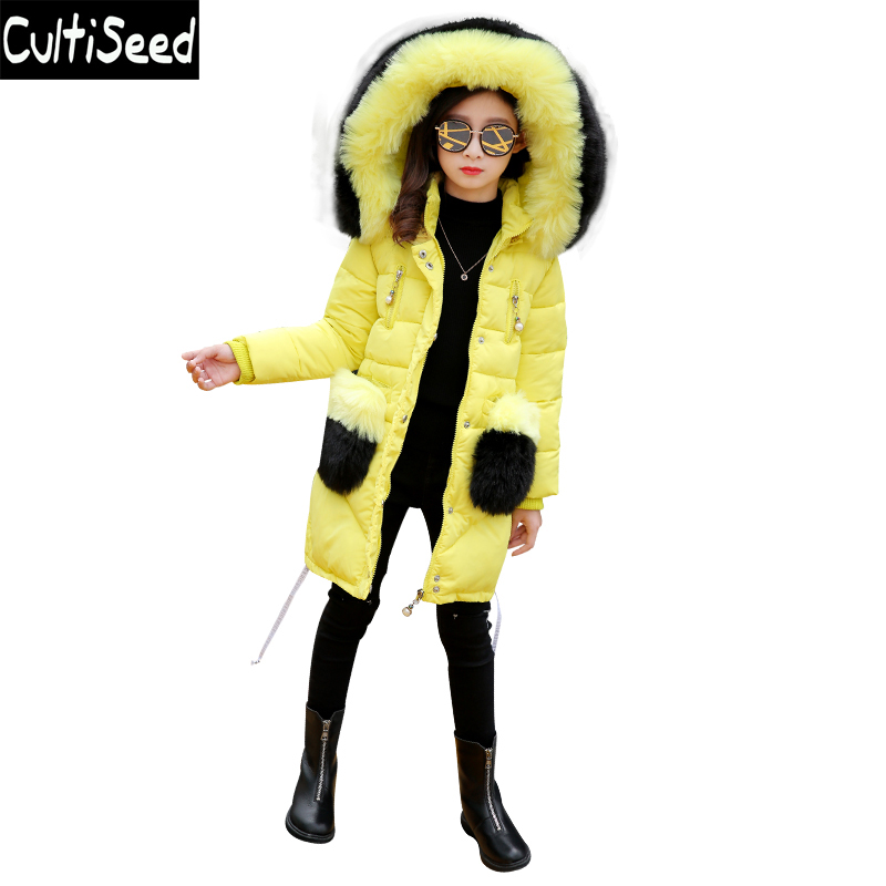 2017 Winter Fur Collar Hooded Cotton Jackets Girls Long Parkas Overcoat Coats Children Think Warm Coat with Fur Pocket 2017 new winter cotton coat women long loose thick warm jacket fashion hooded fur collar female big pocket parkas