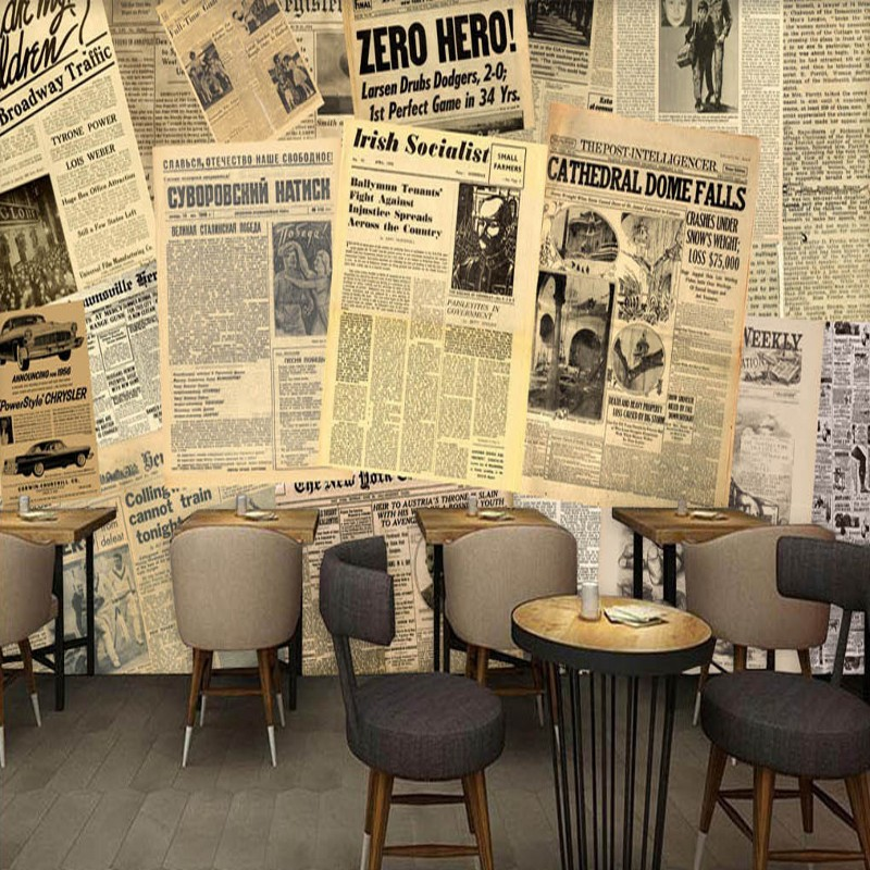 Photo wallpaper europe america old newspaper bar for Coffee shop mural