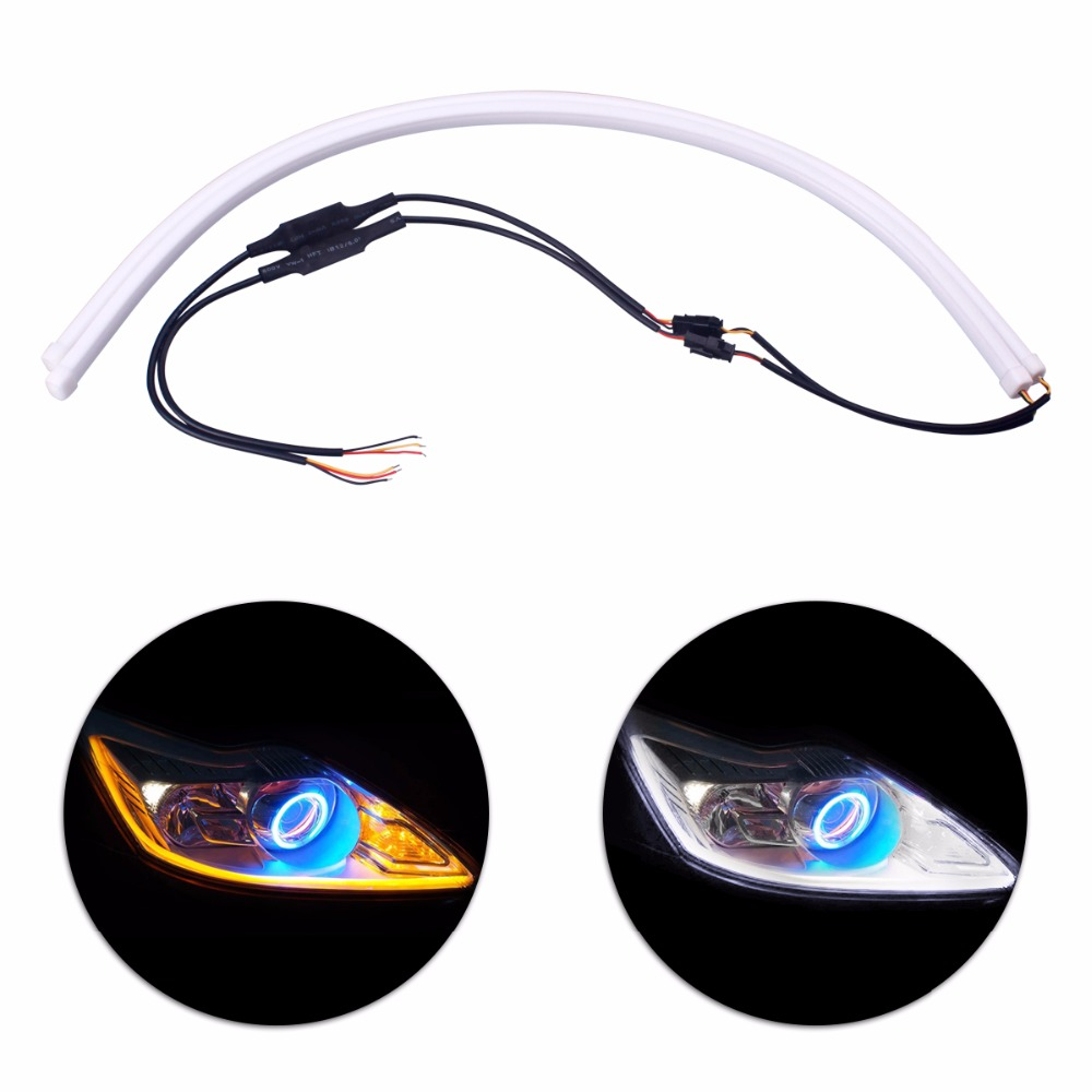 2 x 60cm Angel Eye Daytime Running Light Universal Tube Guide Soft & Flexible Car LED Strip DRL White & Yellow Turn Signal Light 2pcs 12v car drl led daytime running light flexible tube strip style tear strip car led bar headlight turn signal light parking