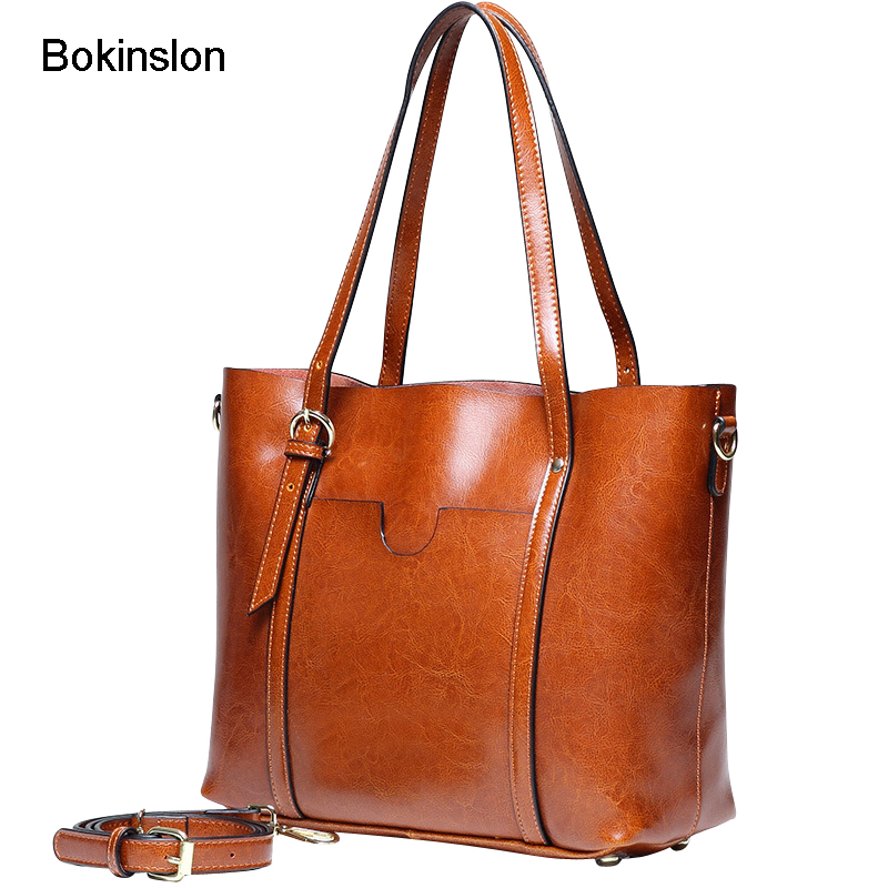 Bokinslon Women Leather Bags Split Leather Fashion Woman Shoulder Bags Practical High Quality Ladies Handbags Bags bokinslon handbags bags men cow split leather multifunction man business bags casual practical shoulder bags male