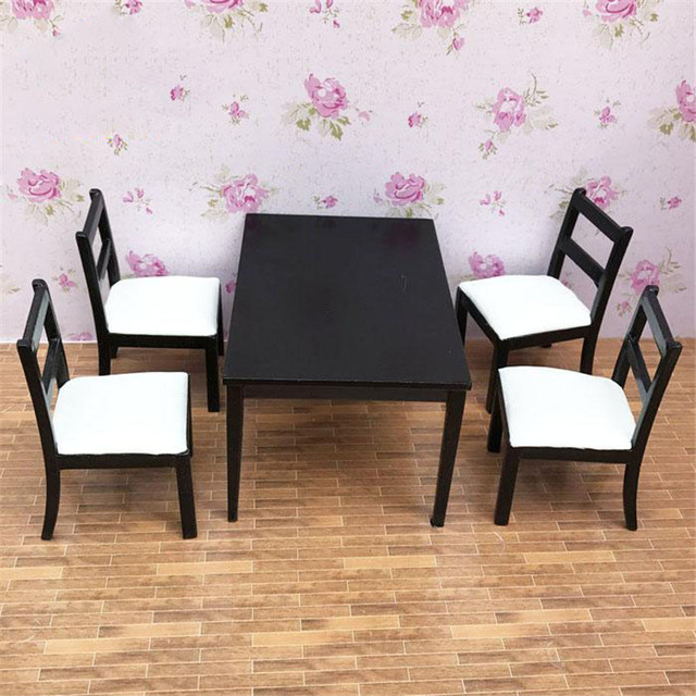 Brilliant Us 51 99 Doub K 1 12 Dollhouse Miniature Furniture Toy White Black Mini Table Sets Wooden Household Pretend Play Toys For Girls Doll In Furniture Machost Co Dining Chair Design Ideas Machostcouk