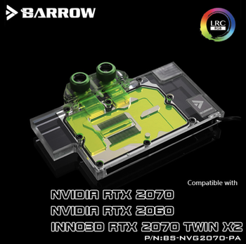 Barrow BS-NVG2070-PA Full Cover Graphics Card Water Cooling Blocks For NVIDIA Founder Edition RTX2070 / 2060 INNO3D RTX2070 TWIN