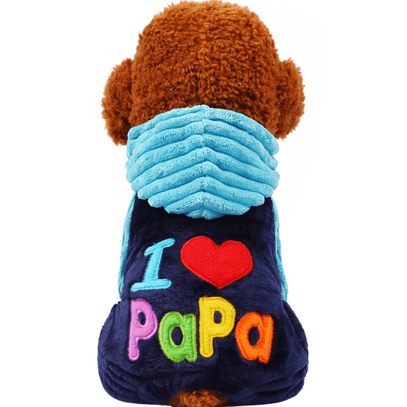 Hot Sale Fashion I Love Papa and Mama Winter Pet Dog Clothes Clothing For Pet Small Large Dog Coats Jackets for chihuahua