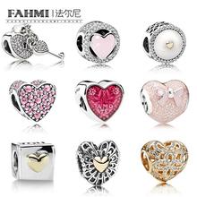 FAHMI 100% Genuine 925 Sterling Silver Heart Lock Beads Clear CZ Charm Bead Fit Bracelet DIY Bangle Pendants Gift Jewelry