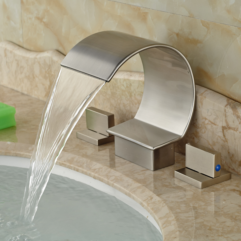 ФОТО Modern Two Handle Waterfall Basin Sink Faucet Bathroom Hot and Cold Mixer Tap Brushed Nickel Finish