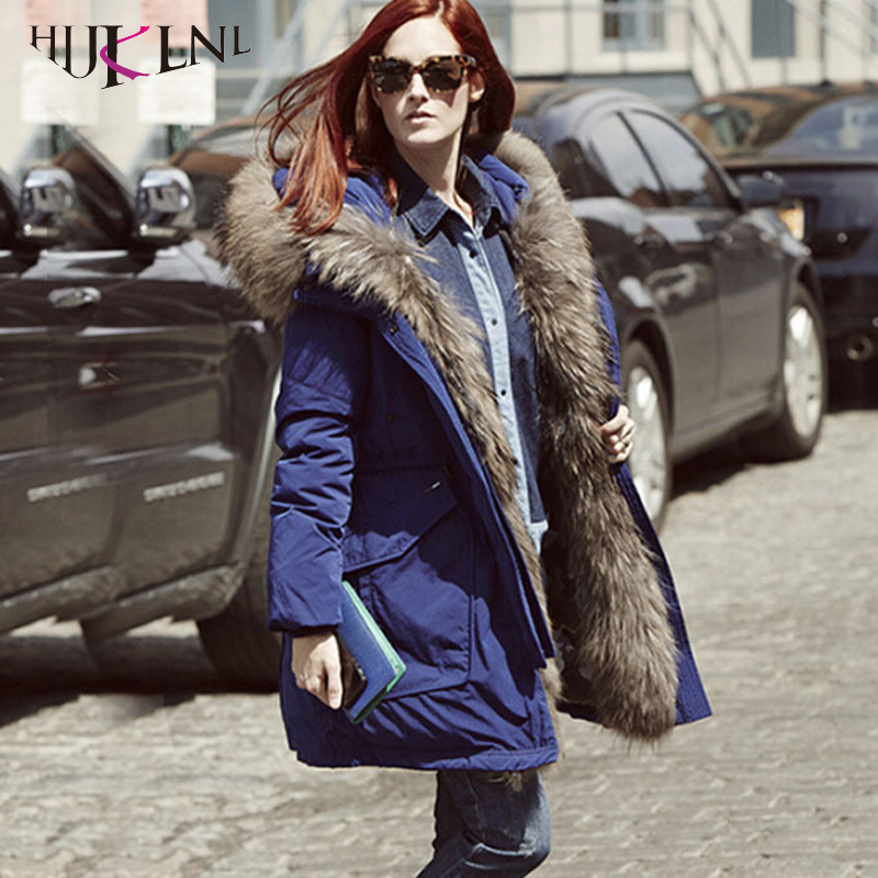 HIJKLNL 2019 New Hooded   Down   Jackets For Women Winter   Down     Coats   With Raccoon Fur Thick Warm Overcoats Female   Down   Parkas PL179