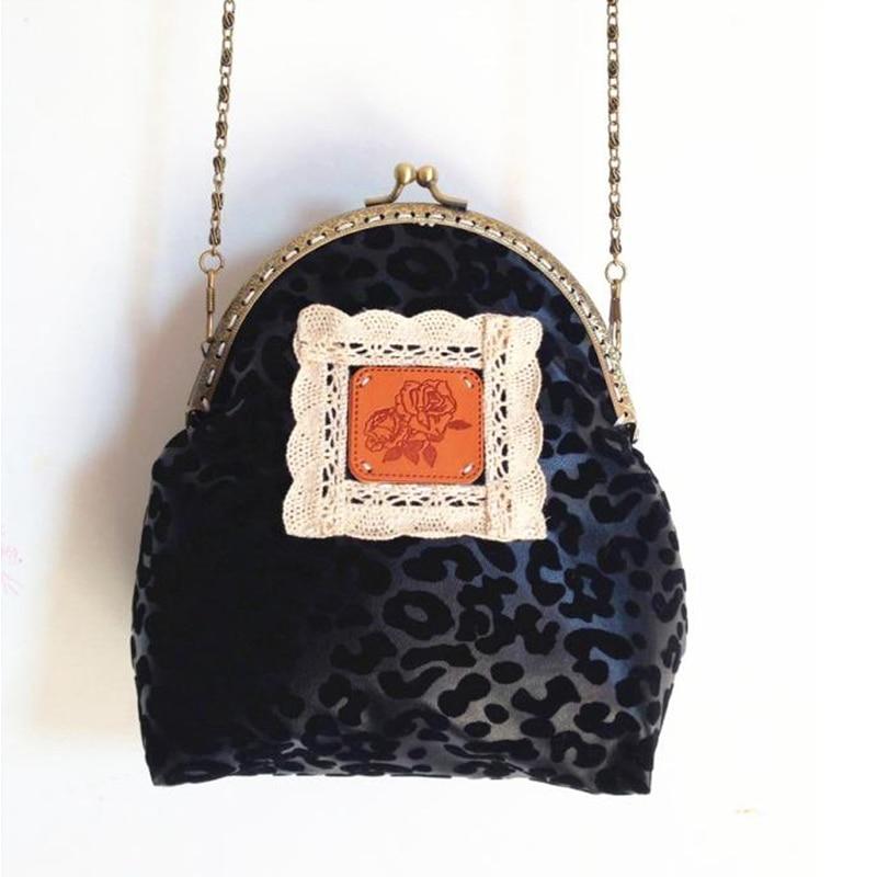 Muti Coin Purse Lace Money Wallet Drawstring Bag Make Up Bag Vintage Purse Women Bags Flower Grid Black Leopard Free Shipping