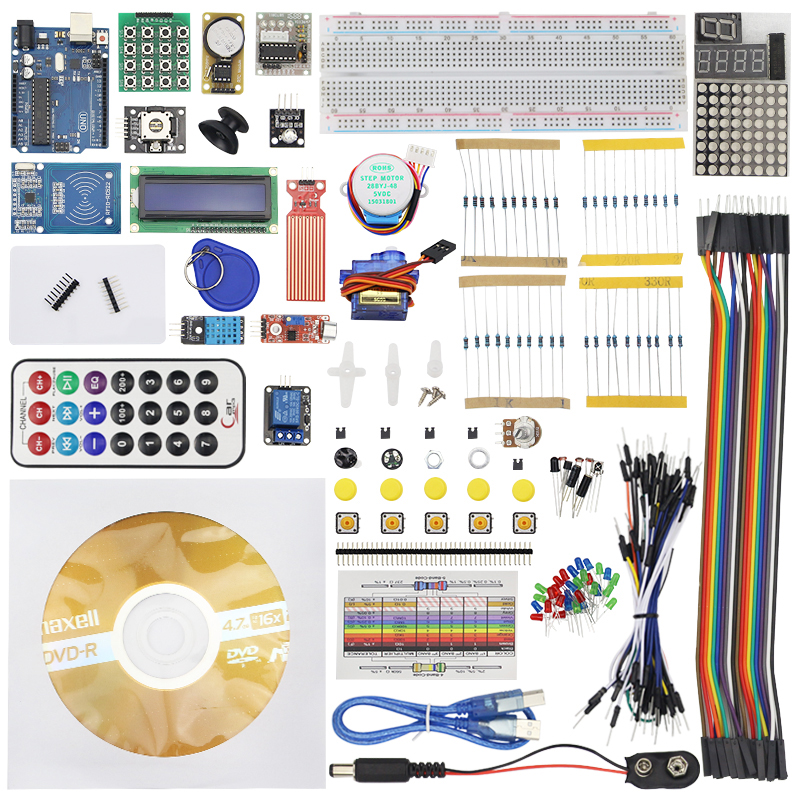 Full RFID Starter Kit for Arduino Upgraded Version for UNO R3 Breadboard Stepper Motor LCD 1602 Learning Suite Kit + Retail Box kit for arduino uno with mega 2560 lcd 1602 hc sr04 dupont line jumper wires sensors led plastic box