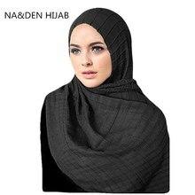 Hot koop crinkled elastische vrouwen sjaal/sjaals reliëf grid shawl solid soft viscose moslim hijaabs wraps 10 stks/partij snelle verzending