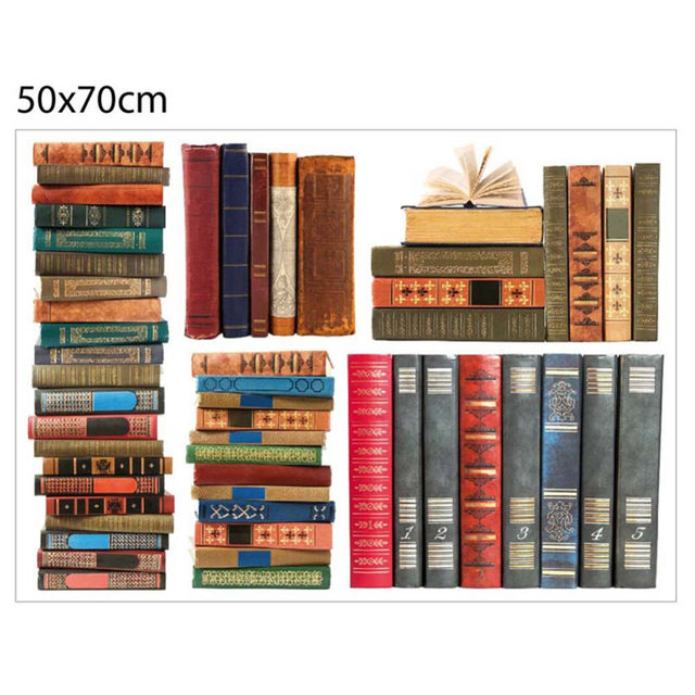 Online Shop Creative Fake Books Bookshelf 3D Wall Stickers Removable