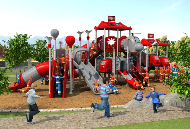 CE,ISO,TUV Professional EXPORTED Outdoor Playground Garden Slide Fire  Control Type Children Play