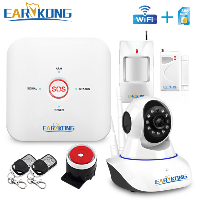 APP WIFI GSM Home Burglar Security Alarm System 433MHz Wireless Sensor Alarm SOS English Russian Spanish Italian French Polish