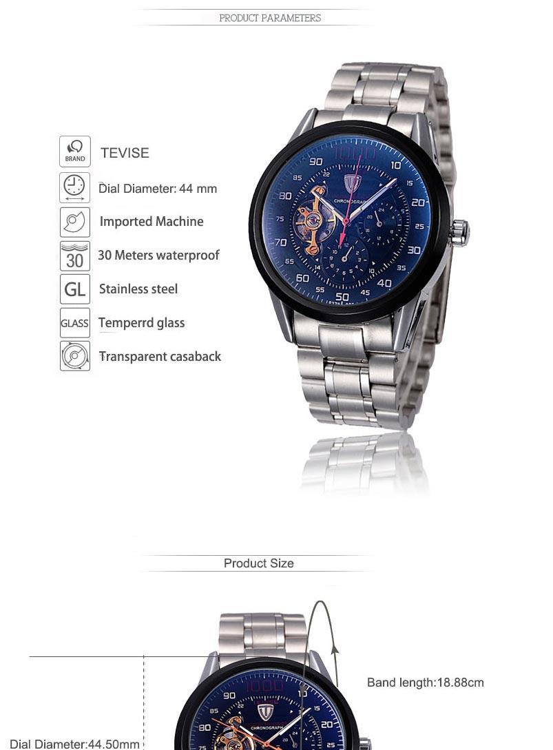 Tevise relógios mecânicos moda luxo relogio relógio