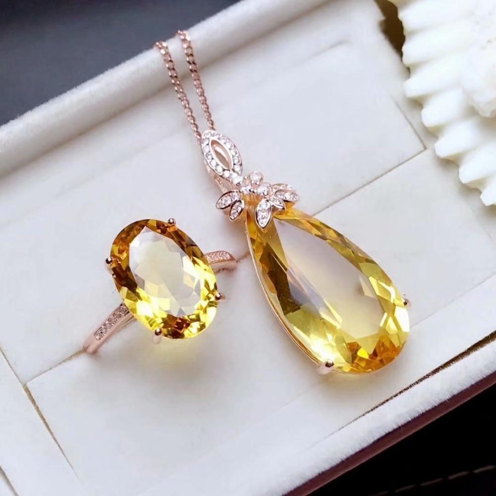 Shilovem 925 argent sterling piézoélectrique citrine anneaux pendentifs envoyer collier bijoux femmes à la mode de mariage mtz10141325agj-in Parures de bijoux from Bijoux et Accessoires    3