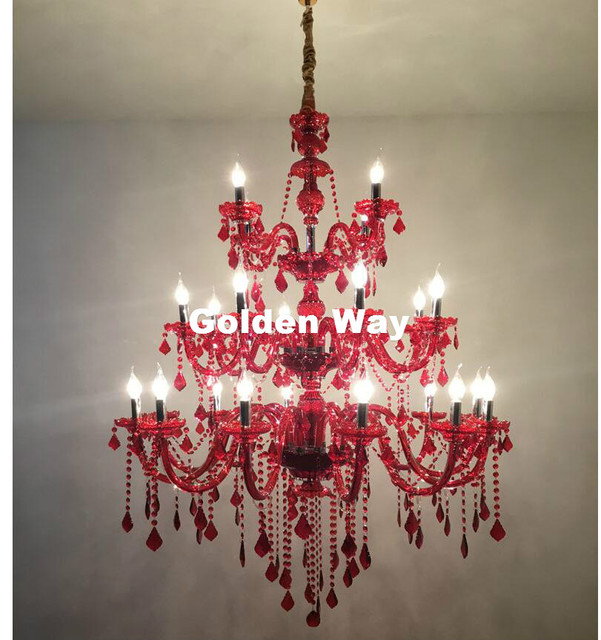 New Arrival Modern Luxury RED Crystal Chandelier lighting 24L LED ...