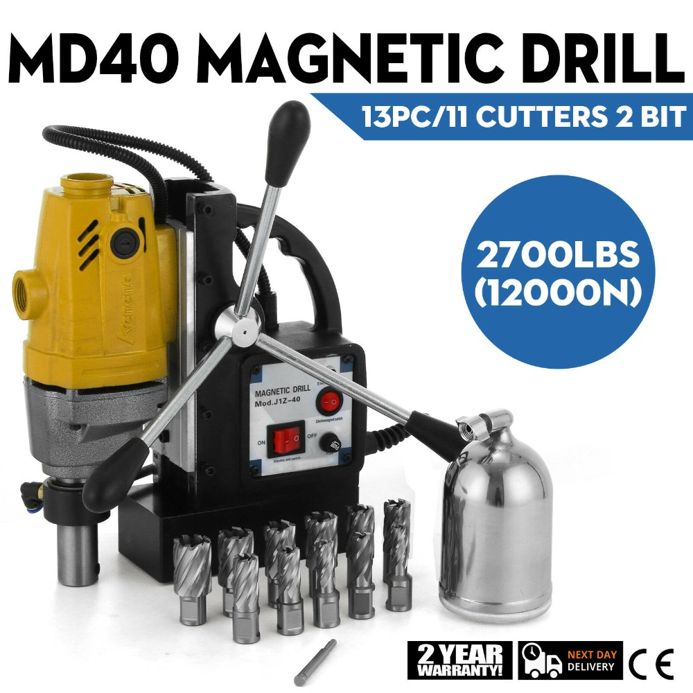 MD40 Magnetic Drill 1100W Compact Electromagnetic Drill Press 12000N Traction 550 RPM