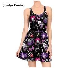 Jocelyn Катрина платья без рукавов плиссированные спортивные Платье трапециевидной формы платье для тенниса Винтаж платье Для женщин Летнее мини платье 3D печатных