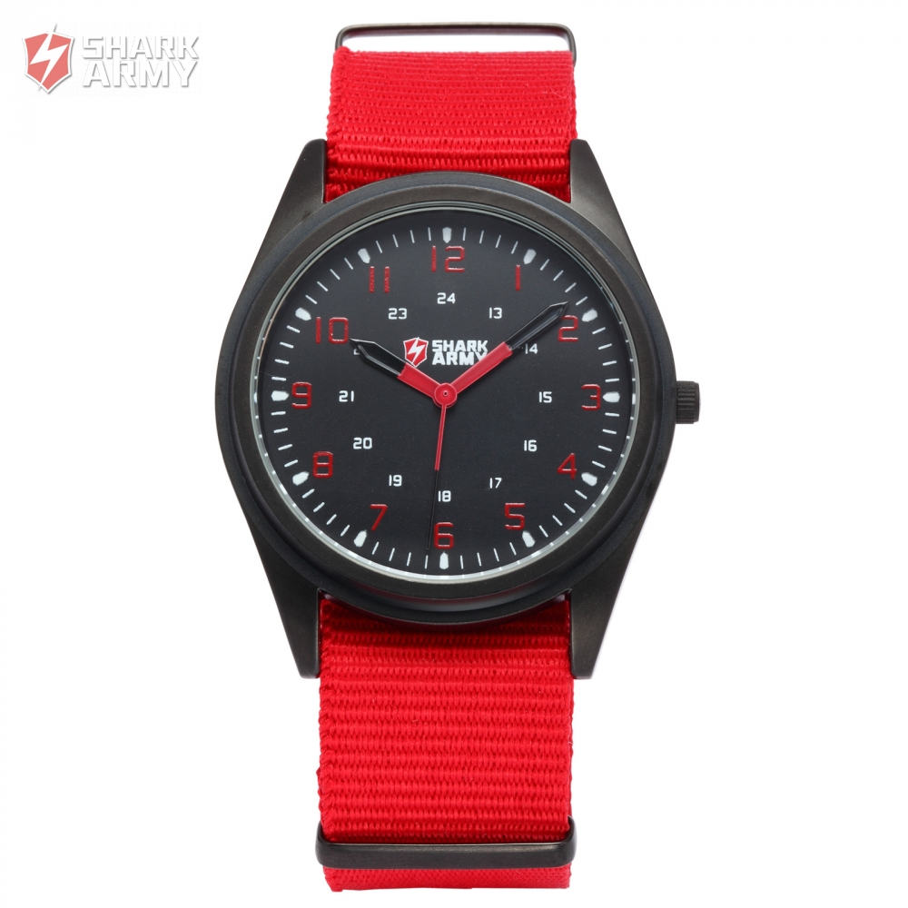 online buy whole red mens watches from red mens watches fashion shark army men watches red military slim 24hrs analog nylon strap band male clock exercito