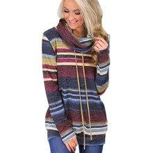 Свитер с высоким воротом, женский свитер с длинным рукавом на осень и зиму,, полосатый разноцветный Повседневный пуловер, вязаный свитер на шнуровке, туника