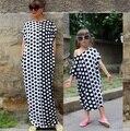 Familiar a largo vestido de lunares vestidos de madre e hija madre e hija vestido de ropa de estilo familiar set family clothing cs8