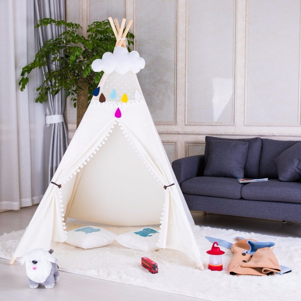 Canvas Teepee Indoor Teepee Tent Child Indoor Playhouse Wigwam Tipi Kids Boys Teepee yellow chevron pet teepee dog bed house teepee for dogs rabbit teepee