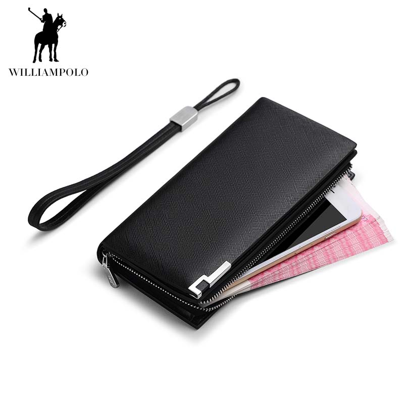 WILLIAMPOLO Long Genuine Leather Men Wallet Fashion Design Sequined Phone Credit Card Holder Wallet Cow Leather williampolo 2017 card wallet men 10 card slots genuine leather button closure fashion long men wallet polo174