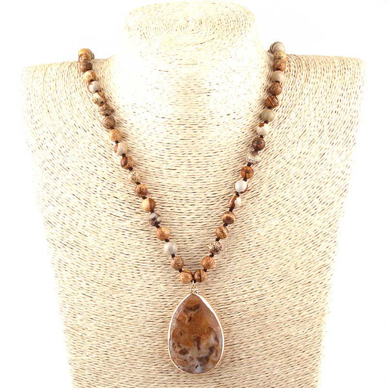 送料無料ファッションボヘミアン部族のジュエリー半貴石結び目石ドロップペンダントネックレス