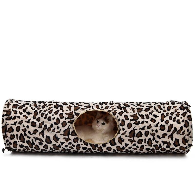 Leopard Cat Tunnel with Soft Ball Cat Rabbit Toys Play Tunnel - Produkty dla zwierząt domowych - Zdjęcie 4