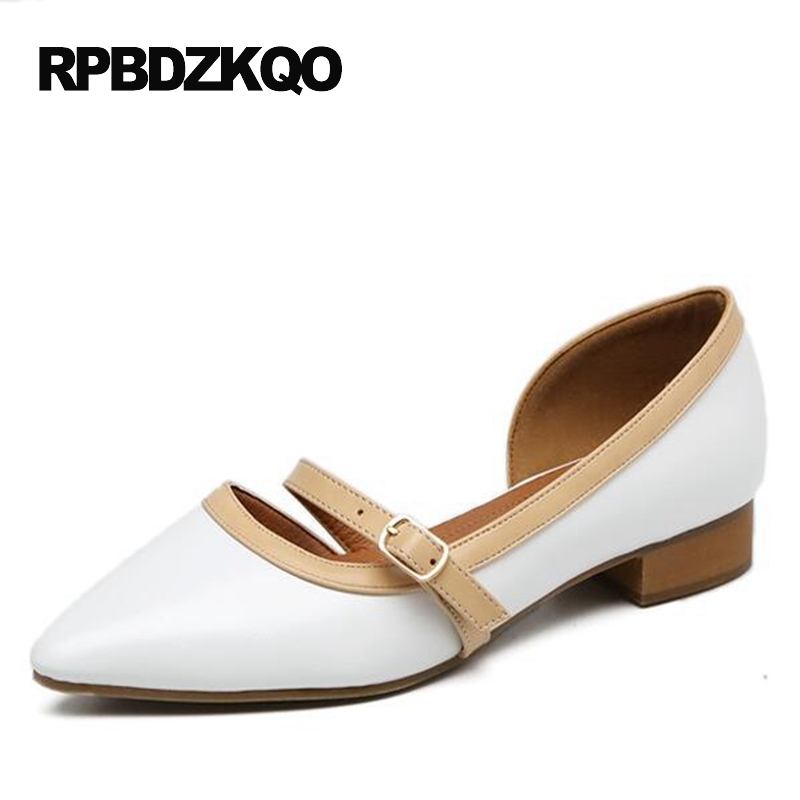 2017 Retro Chic Low Heel Ladies Sandals Flats Black Pointy Women Pointed Toe British Style Mary Jane Beautiful Shoes White