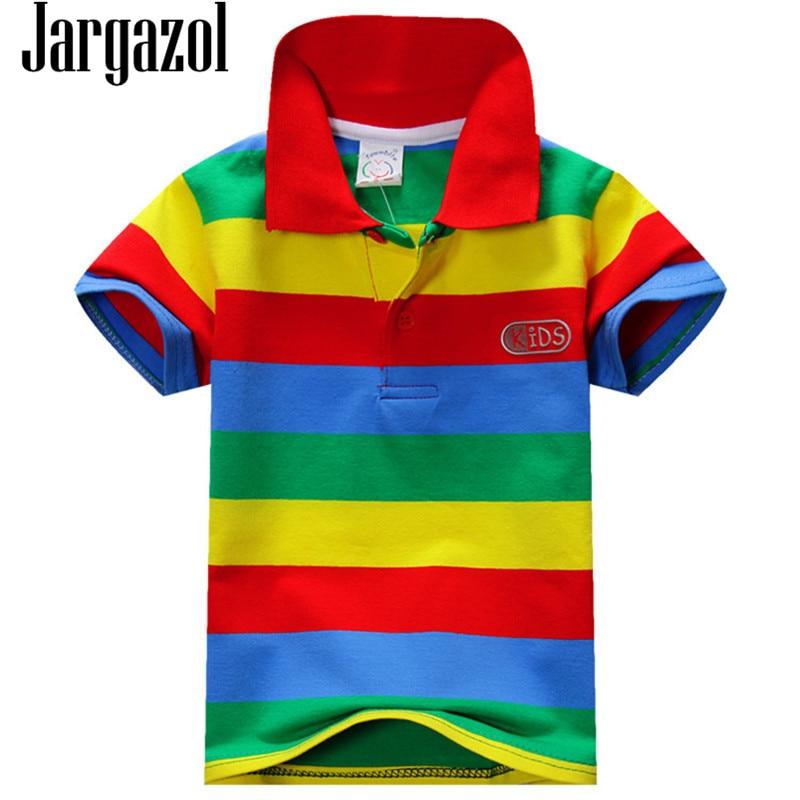 все цены на Jargazol 2018 Boys Shirts Color Stripes Short Sleeve Summer Top Polo Shirt 2T-7T Kids Clothes Cotton Camiseta Toddler Boy Tees онлайн