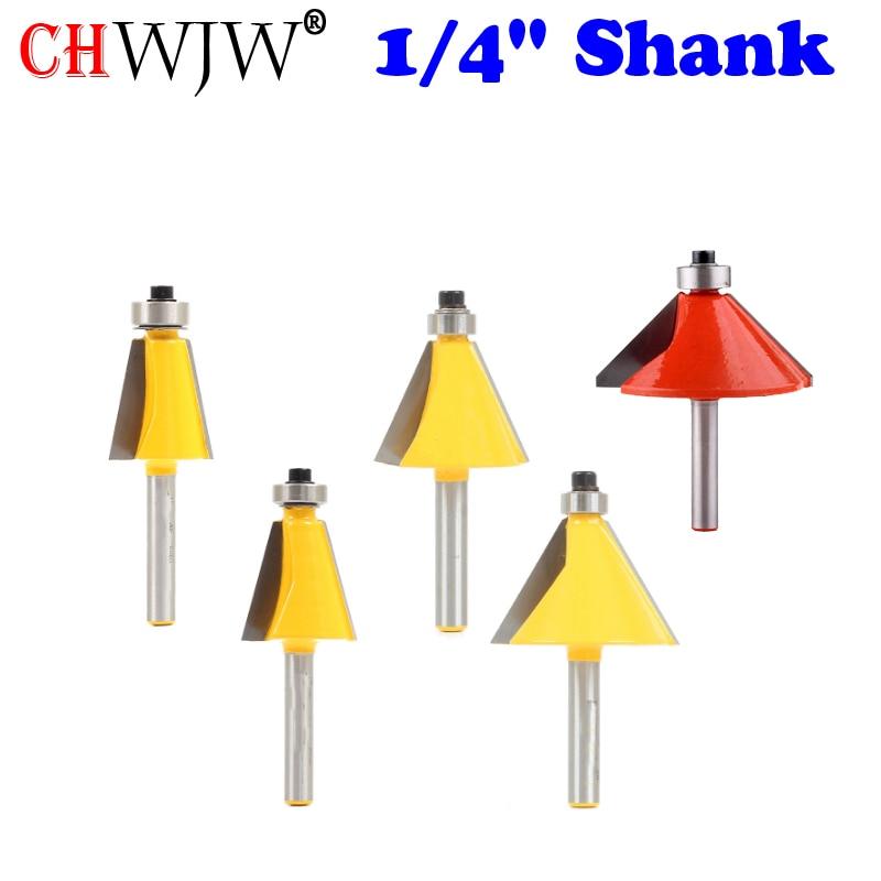 "1//4/"" Shank 2 Pieces 30 Degree /& 22.5 Degree Chamfer Bit Set"