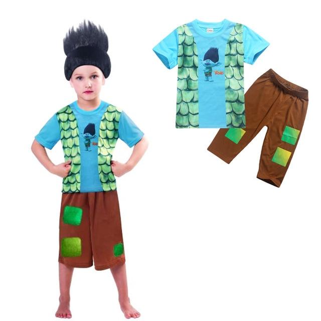 New TROLLS boys Pajama Sets summer Cartoon Clothing Set For Girls short Sleeve Shirt + Pants 2 Pieces Suit Kids Clothing no hair