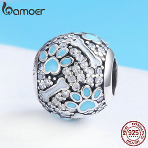 Image 5 - BAMOER Authentic 925 Sterling Silver Clear CZ Dog Footprints Bones Charm Beads Fit Bracelets Necklaces Jewelry Making SCC765