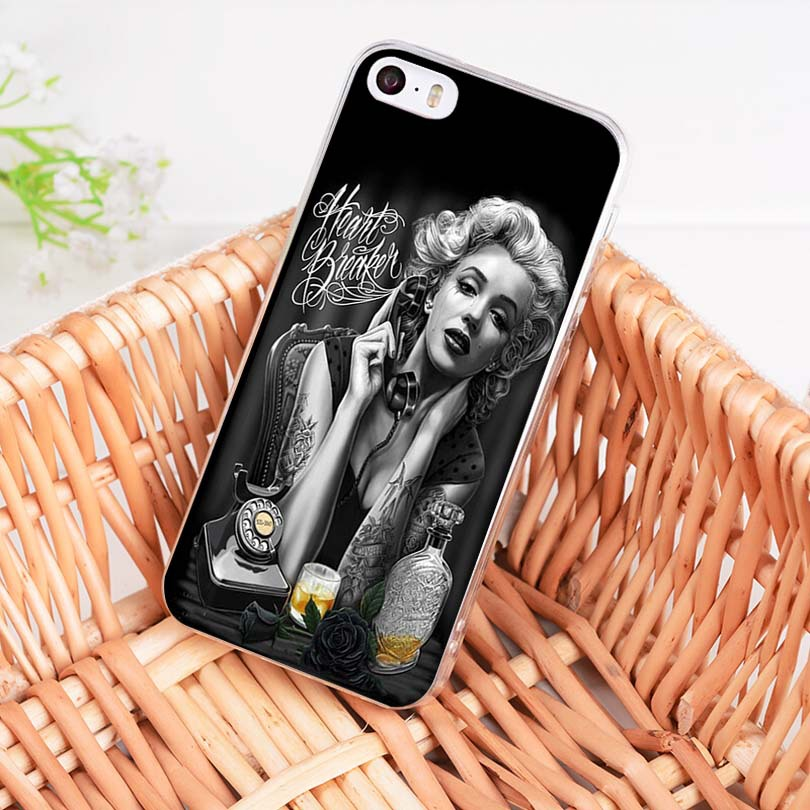 Maiyaca Marilyn Monroe With A Novelty Cat For Iphone 5c 5s 6s 7 8 Plus X Xr Xs Max Phone Cases Transparent Soft Tpu Cover Cases Phone Bags & Cases Half-wrapped Case