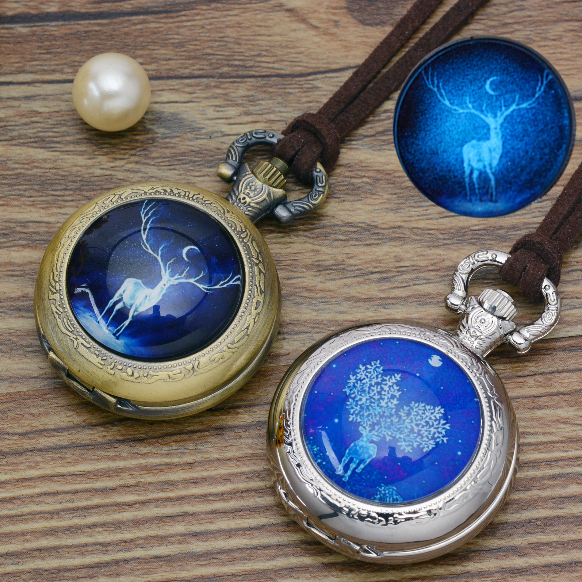 Fashion Luminous deer pocket watch necklace woman men fob watches silver bronze round convex lens glass picture girl cute lady old retro bronze pocket watch doctor who design quartz fob watch with chain necklace
