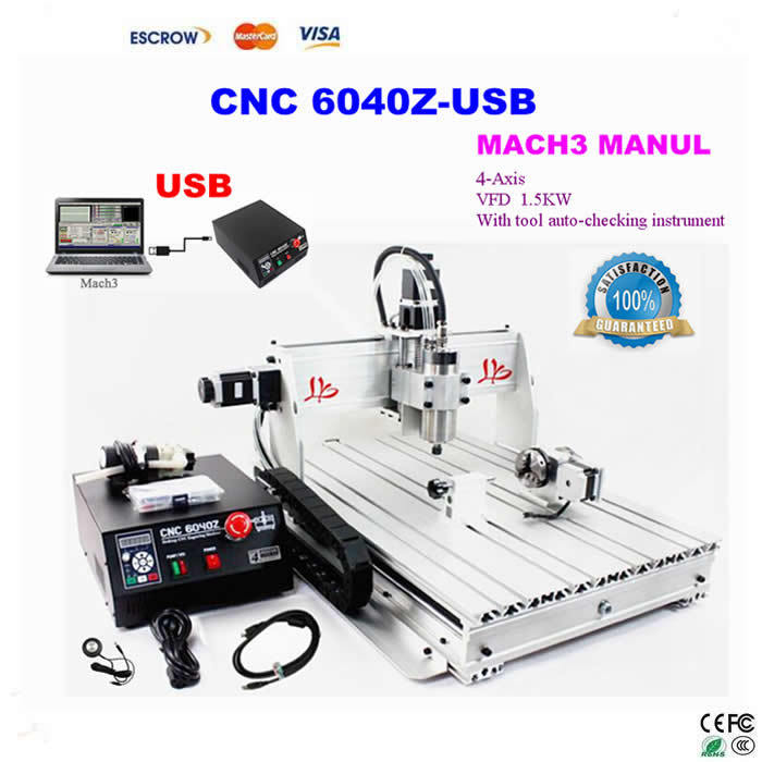 4 Axis USB CNC Milling Machine CNC 6040 Z-USB Mach3 manual Router with 1500W VFD spindle and auto-checking tool, USB port cnc milling machine 4 axis cnc router 6040 with 1 5kw spindle usb port cnc 3d engraving machine for wood metal