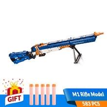 583PCS Self-Locking Bricks DIY Building Blocks Toys Gun M1 Rifle Model Foam Bullets Kit Role Play Game set Gift for Boy Children цена