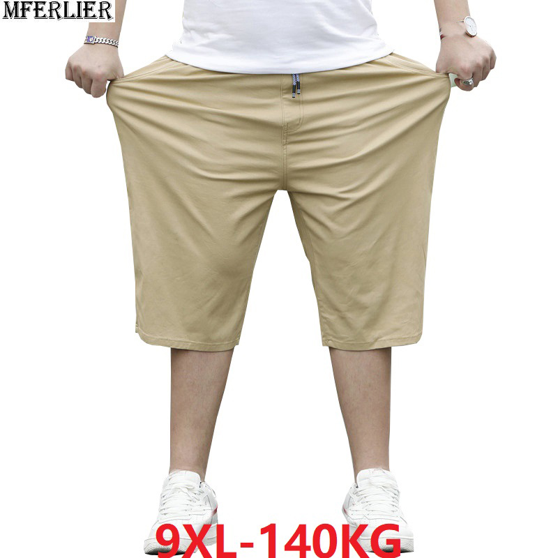 Plus Size Big 8XL 9XL Men Casual Simple Home Shorts Summer Cotton Shorts Oversize 7XL Elasticity Shorts Stretch Black Navy Blue