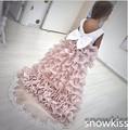 2016 nuevo venir plisado altas-bajas de flores niña vestidos para la boda hermosa vestidos de bola del satén con encajes tren juniors vestido de fiesta
