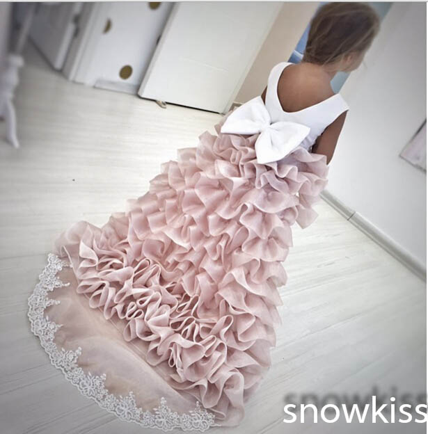 Cute new coming pleated high low flower girl dresses for wedding and party satin ball gowns with lace train juniors prom dress box pleated lace