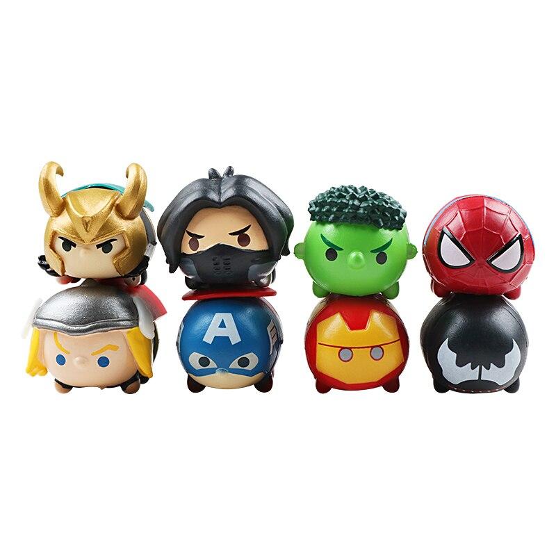 8pcs/set Marvel The Avengers Kawaii Tiny Tsum Tsum Mini Spider Man Iron Man Hulk Captain America Thor PVC Avengers Figures Toys